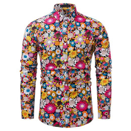 2019 adelgazamiento vestir patrones Nueva llegada Hombre Camisa Patrón Diseño Manga larga Floral Flores Estampado Slim Fit Hombre Camisa casual Moda Vestido Camisas Chemise 20 adelgazamiento vestir patrones baratos