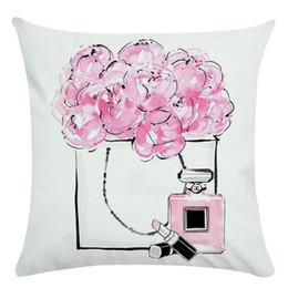 Garrafas de perfume pintadas on-line-Pintados à mão Flores E Frascos de Perfume Super Macio Capa de Almofada E Sofá Fronha Casa Decorativa Travesseiro Cobre