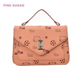 2019 lindos pequeños bolsos de hombro Sugao rosa del bolso de hombro del diseñador bolsa de las mujeres del bolso crossbody del monedero BRW nuevas bolsas de asas de la moda pequeño gato imprimen el bolso encantador y lindo lindos pequeños bolsos de hombro baratos