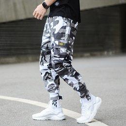 Mens punk hose online-Fashion Camouflage Punk Style Herren Jogger Pants Jugend Streetwear Hip Hop Jeans Herren Big Pocket Cargo Pants Haremshose Homme