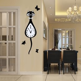 watches cat designs Coupons - MEISD Creative Lovely Animal Cartoon Cat Swingable Wall Clock Modern Design Hanging Watch Black Clocks Living Room Free Shipping