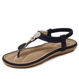 Sandalia flip flop flip flop online-Verano Nuevo Bohemia Wedge Sandalias Mujer Rhinestone Mujer Chanclas Vintage Mujer Zapatos Playa