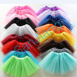 Robe 17 en Ligne-17 couleurs Baby Girls Tutu Dress bonbons arc-en-couleur Kids Party Mesh Jupes robes de danse Tutus été Bubble Gaze Ballet Jupe courte e3609