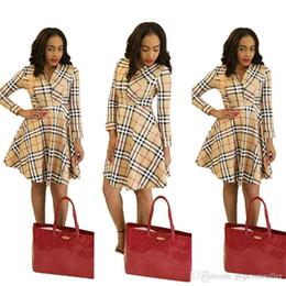 2019 verifique o vestido de inverno Moda Designer de Saia das Mulheres Outono e Inverno Verifique Imprimir Saia Plissada Vestido de Manga Longa Mulheres Casual Vestuário verifique o vestido de inverno barato
