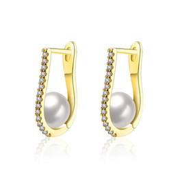 Elegante modische Ohrringe geometrische Mosaik Zirkon mit Perle Clip-on-Schraube zurück Ohrring Zubehör Hochzeitstag Geschenke POTALA154 von Fabrikanten