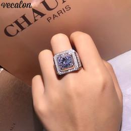 2019 anillo para los dedos macho Vecalon Luxury Male Solitaire ring 3ct Diamond 925 Engranajes de plata esterlina de la boda anillos de la boda para los hombres Big Finger Jewelry anillo para los dedos macho baratos