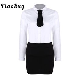 2019 piece calzini del vestito TiaoBug Adult White Colletto con risvolto camicia con Split Mini Bodycon Gonna Tie Set Office Ladies Uniform Women Hot Costumi Sexy