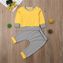 Trainingsanzug kaninchen online-Autumn Rabbit Ears Long Sleeve Yellow T-shirt Pants Tracksuit Boys Girls Outfits 2PCS Toddler Newborn Baby Girl Boy Clothes Set