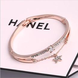 pulsera de pentagrama Rebajas De moda de lujo bohemio pulseras brazaletes de oro rosa marca de acero inoxidable para mujer Pentagram Love Charm Bracelet para mujeres joyería