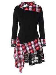 Hochwertige hemden online-Plus Size Plaid Lace Insert Unregelmäßiger Rand T-shirt Lässige Frauen High Low Hem Lange T Herbst Frühling T Shirts Frauen Kleidung