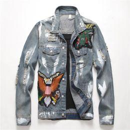 männer grau jacke denim Rabatt Europäische amerikanische Art Männer Stickerei Buchstaben Jacke Männer Mäntel Oberbekleidung graue Jacke dünne Denim für