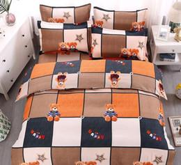 set di copriletto di cartone animato Sconti Set di 4 pezzi Set di biancheria da letto Set di biancheria da letto Include Lenzuolo Copripiumino Federa da camera Decorazione Copriletto Full Size