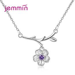 Süße jubiläumsgeschenke online-Charming Sweet Style Halskette für Damen Mädchen 925 Sterling Silber Schmuck 2 Farbe Kristall Pretty Anniversary Geburtstagsgeschenke