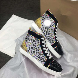 2021 gute kleiderschuhmarken Gute Qualität Mix No Limit Herren Wohnungen High-Top Louisflat Marke Stud Spikes Red Bottom Sneakers Schuhe, perfekte Party Dress Free Shiping günstig gute kleiderschuhmarken