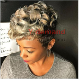 short curly celebrity hair Promo Codes - Celebrity Wig Short Straight Ombre Blond Haircuts Pixie Cut Hair Highlights African American None Synthetic Lace Full Wigs Wholesale