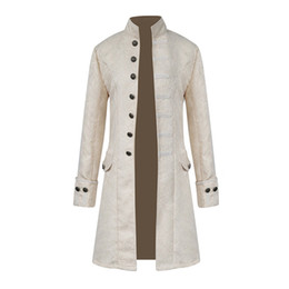 gothic-mantel Rabatt 2019 Retro Herren Gothic Brokat Jacke Mantel Männer Steampunk Mittelalterlichen Stil Stehkragen Kostüme Langarm Trenchcoat