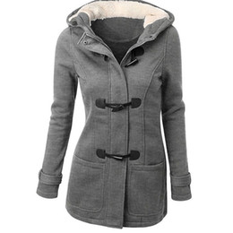 casaco de botão de chifre de mulher Desconto Jacket algodão com capuz Inverno Mulheres Grosso Brasão Casual cor sólida Moda Long Horn Botão mulheres fêmeas Brasão