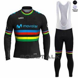 Kit de inverno térmico on-line-Movistar equipe de inverno ciclismo casaco de lã térmica maillot personalizado ciclismo jersey tops roupas de desgaste kit de bicicleta ropa uniforme