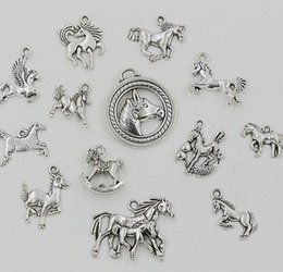 2020 perles de charme de cheval Mixed Horse Charm Big Hole Dangle European Beads Antique silver Fit Charm Bracelet Jewelry DIY 65pcs lot perles de charme de cheval pas cher