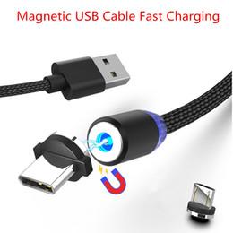 Cable de pin online-360 Más fuerte Metal Magnético Micro USB 8 Pin Cable Sync Carga rápida Cables del cable del cargador para Android Type-c Smartphone con Opp Bag