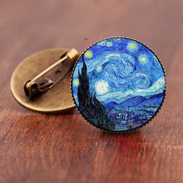 broches de sensibilisation en gros Promotion Vintage Van Gogh étoilé nuit tournesol broche bronze antique, l'art de baiser peinture ronde 25mm en verre dôme broches broches