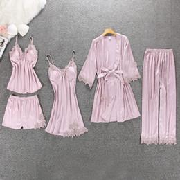 Шелковые прокладки онлайн-Пижама женщины пижамы 5 шт. Атлас пижамы пижамы шелк домашняя одежда домашняя одежда вышивка сон гостиная пижама с груди колодки