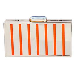 Borsa per iphone mini online-Designer-cristallo singolo bling metallo borsa a tracolla ritaglio scatola metallica caso di sera borse per iphone 6 zebra striscia hollow - DT004