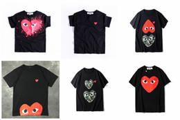Femme Chemises COMMES À Manches Courtes Respirant Des Garcons Off Hommes Femmes Red Heart Tee Shirt Col Rond En Coton T-shirt Blanc Pour Les Amoureux Pas Cher ? partir de fabricateur