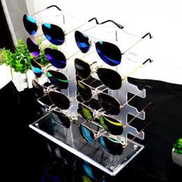 Racks de óculos de sol on-line-Dois Row Sunglasses display stand Criativo 10 pares Rack de armazenamento de óculos Destacável plástico transparente Sunglass Display Stand TTA321