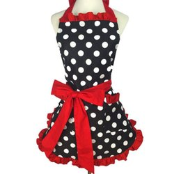 2019 cravate ponctuée Tablier Lady Bow Tie Black Dot Tablier Cendrillon Princesse Edgefold Étanche Maison Cuisine Serveur Coton Tablier cravate ponctuée pas cher