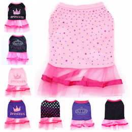 dogs tutu clothes Coupons - Dog Clothes Bling Crown Princess Dress Lace Pet Tutu Dresses Pet Puppy Skirt Summer Pets Clothes 11 Designs YW3483