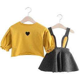 Baby-kaninchen-outfit online-Herbst Winter Baby Mädchen Kleidung Set Neugeborenen Tops + bebe Kleid 2 Stück Anzug Baumwolle Baby Outfit Kaninchen Print Infant Mädchen Kleidung J190706