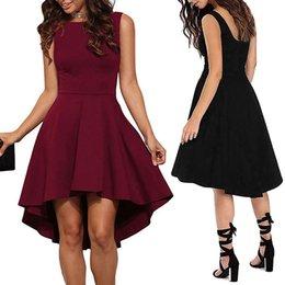 2019 swing nero Black Flare Solid Dress Elegant Straps Sleeveless Plain A Line Abiti Donna Summer Autumn Abito corto Big swing fishtail dress drop ship