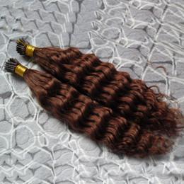 2019 виргинские волосы слияния #33 темно-каштановый коричневый Реми наращивание волос 200S кератин fusion предварительно Blonded человеческих волос кудрявый вьющиеся перуанские девственные волосы Реми дешево виргинские волосы слияния
