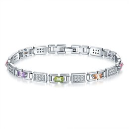 Mode Frauen Glänzende Silberkette Armbänder Charme Lila Grün Kristall Stulpearmbänder Hochzeit Schmuck Beste Geschenk von Fabrikanten