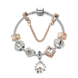 Valentine armbänder online-17-21 CM Charme Perlen Armband 925 Silber Pandoa stil Armbänder herz an herz anhänger Zubehör Diy Hochzeit Schmuck valentinstag geschenk