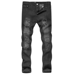 mens cotton trouser design Promo Codes - 2019 Mens New Style Casual European And American Mens Casual Wash Patch Design Jeans Young Mens Trousers