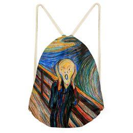 Nuova borsa con coulisse Van Gogh pittura a olio Monet per le donne borsa a tracolla di viaggio estate moda piccola ragazze dei bambini zaino personalizzato da