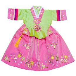 4405b86cd5 korean dance dress Promo Codes - 5 colors children hanbok dress Korean  princess national costumes Flower