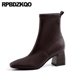 inverno giapponese tacco alto caviglia nero scarpe nuove pelliccia punta quadrata donne slittamento impermeabile stivali blocco grosso marrone