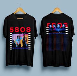 Ropa de los segundos online-Nuevo 5 segundos del verano 5SOS Meet You There Fechas del tour 2018 Camiseta Talla S - 3XL Camisetas Casual Marca Ropa Algodón