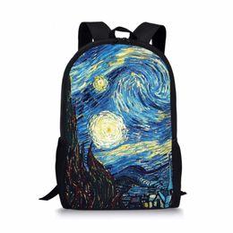 Argentina Van Gogh Famosa Pintura Al óleo Mujeres Niños Bolsas Escolares para Adolescentes Boy Girls Estudiantes Lápiz Bolsa Mochila Escolar portátil cheap laptop paint Suministro