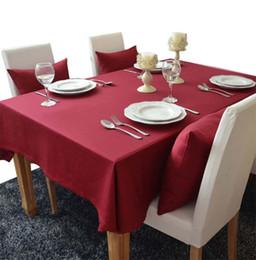 Nappes rouge en coton en Ligne-YO HOOM Cuisine Coton Nappe Nappe Table Basse En Tissu Table Cover Couleur Simple Rouge Couleur En Option