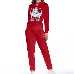 ladies white pant suit women Coupons - Autumn New Two Piece Set Women Tracksuit Ladies Santa Claus Hoodies Sweatshirt Pants Sets Leisure Casual Wear Suit Christmas