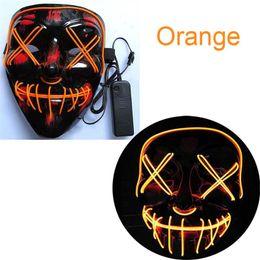 Maschere per il nuovo anno online-EL Led Maschera di Halloween El Wired Light Up Purge Election Grandi maschere divertenti Cosplay Capodanno Forniture per costumi Glow In Dark