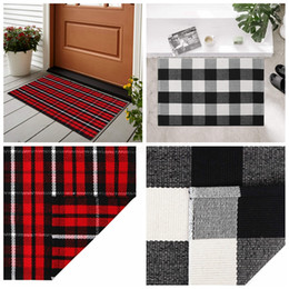 Jeter des tapis en Ligne-Tapis d'Plaid coton Tartan Buffalo Checkered Layered Porte Tapis extérieur carpette Cuisine Salle de bain Tapis Décoration extérieure 60 * 90cm FFA3789