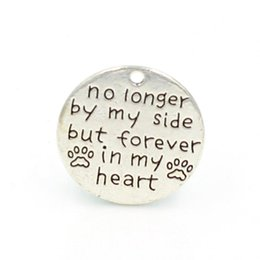 "word round charms Promo Codes - Wholesale-25mm Antique Silver Plating English Word"" no longer by my side bu forever in my heart"" Round Alloy Charm DIY"