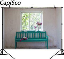фото фоны для весны Скидка Capisco Весна окно скамейка цветы крытый сцены Фото фон свадьба индивидуальные фотографические фоны для фотостудии