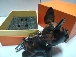 Llavero perro caliente online-Hot Dog Fashion 6 colores llavero de alta calidad de la decoración del bolso de la cadena del dogo francés llaveros llavero del bolso del envío libre con la caja