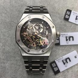 2019 Top mens relógio de vidro de safira 15407ST.OO.1220ST.01 series 41MM esqueleto de discagem automática movimento sólido inoxidável pulseira de pulso watch1 de